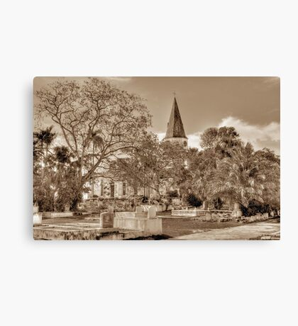 St. Matthew's Anglican Episcopal Church and Eastern Cemetery in Nassau, The Bahamas Canvas Print