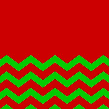 CHEVRON CHRISTMAS HALF PATTERN WITH SOLID RED AND BRIGHT GREEN  by ozcushionstoo