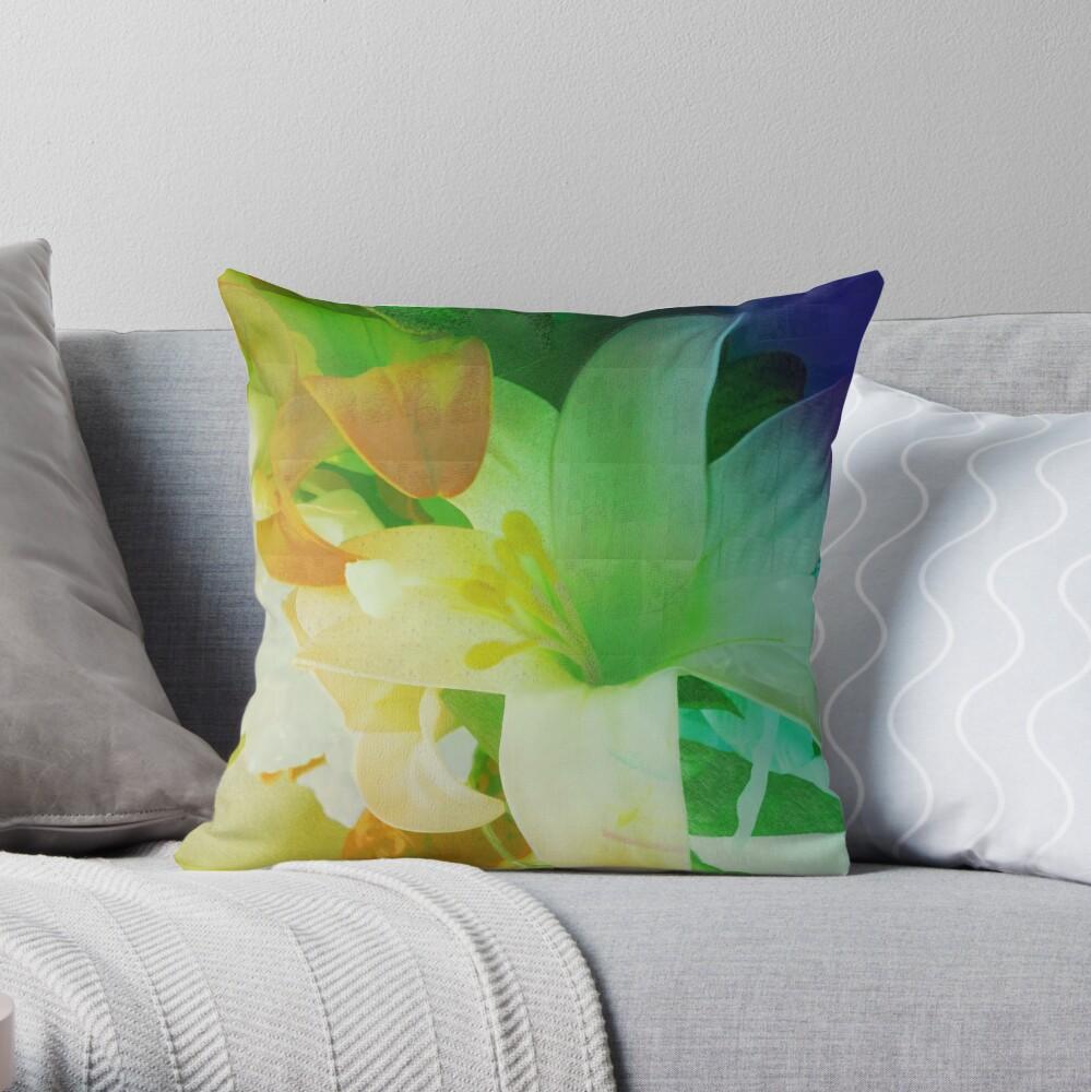 Texturized Flowers Throw Pillow