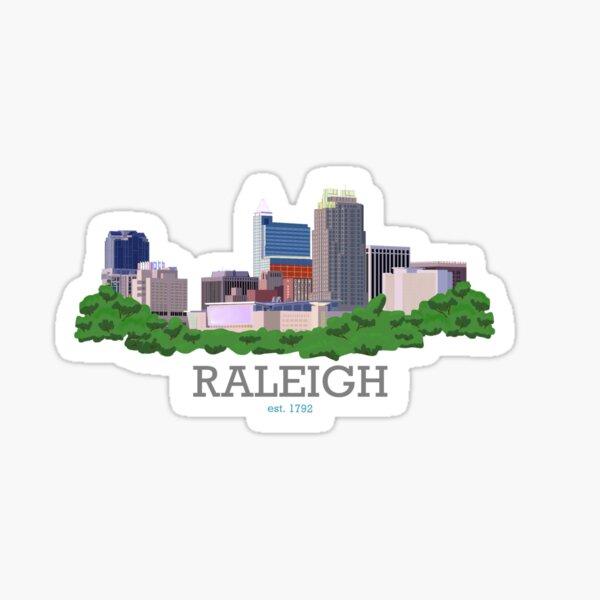 Raleigh City Skyline [with words] Sticker