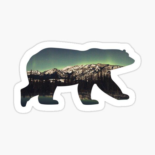 Polar bear mountains northern lights Sticker