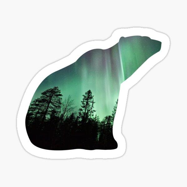 Polar bear sitting northern lights Sticker