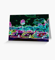 Glowing Cars Greeting Card