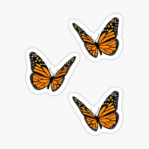 butterfly trio orange Sticker