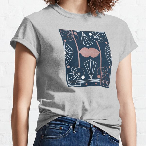 Graphic Art Deco Lips - Rose Gold/Navy Classic T-Shirt