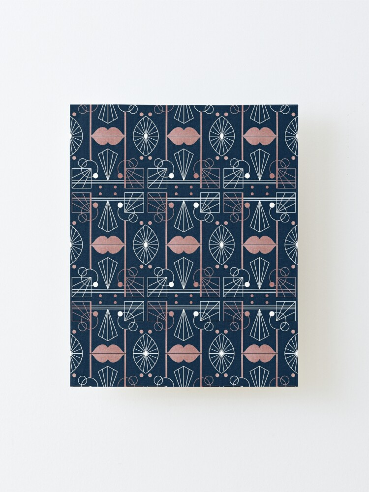 Alternate view of Graphic Art Deco Lips - Rose Gold/Navy Mounted Print