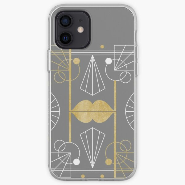 Graphic Art Deco Lips - Gold/Gray iPhone Soft Case