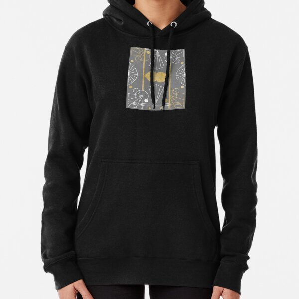 Graphic Art Deco Lips - Gold/Gray Pullover Hoodie