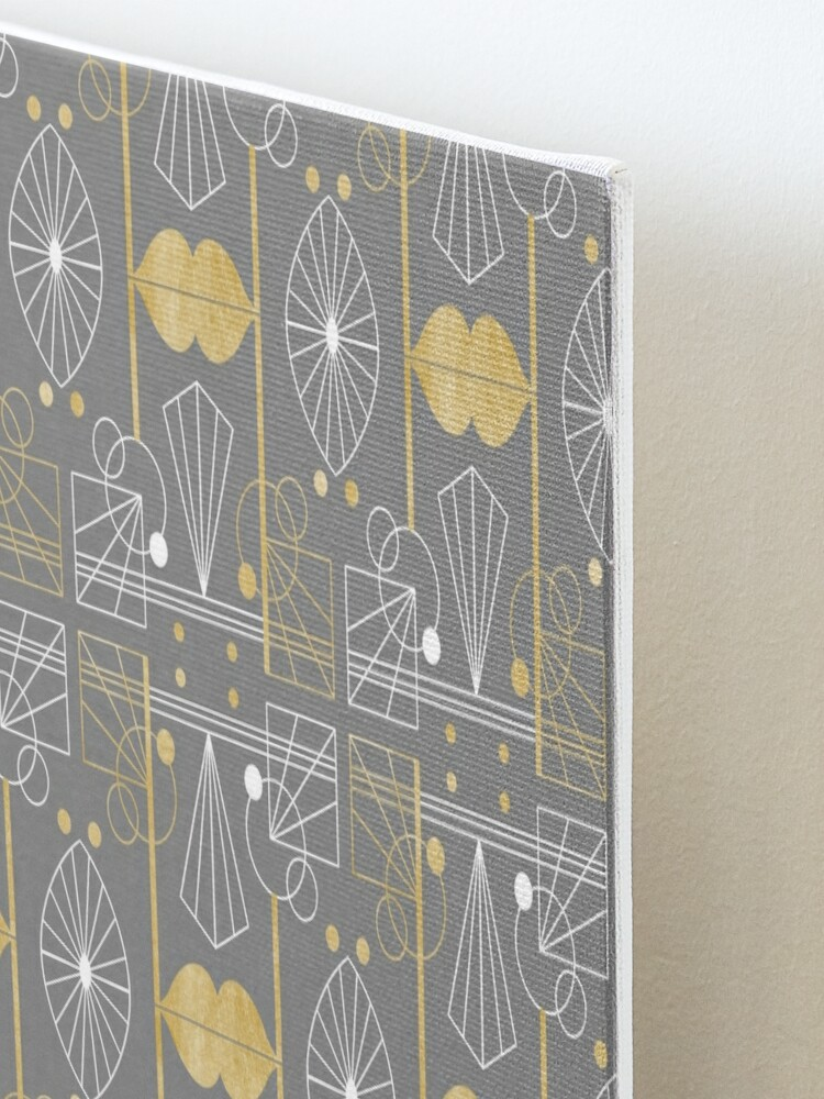 Alternate view of Graphic Art Deco Lips - Gold/Gray Mounted Print