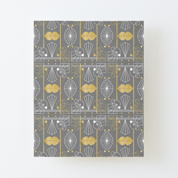 Graphic Art Deco Lips - Gold/Gray Canvas Mounted Print