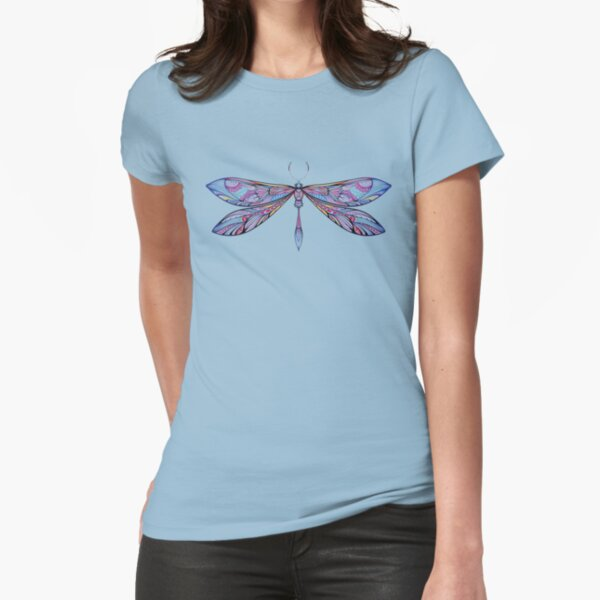 dragonfly in dark shades Fitted T-Shirt