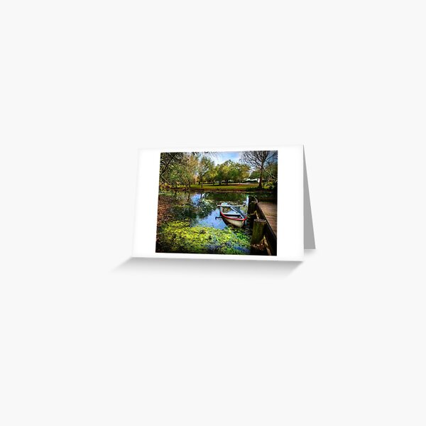 Boat on the bayou of the historic village of Vermillonville Louisiana USA Greeting Card