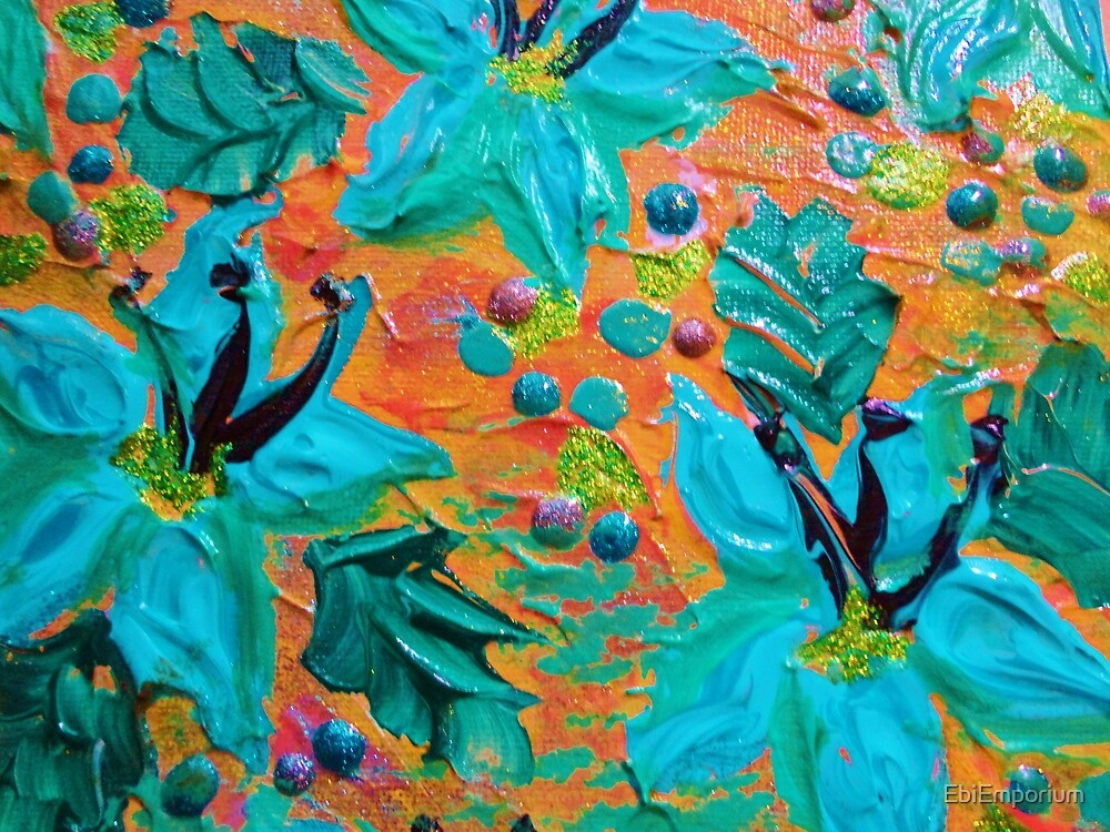 BLOOMING BEAUTIFUL 2 - Modern Abstract Acrylic Tropical Floral Painting, Home Decor Gift for Her by EbiEmporium