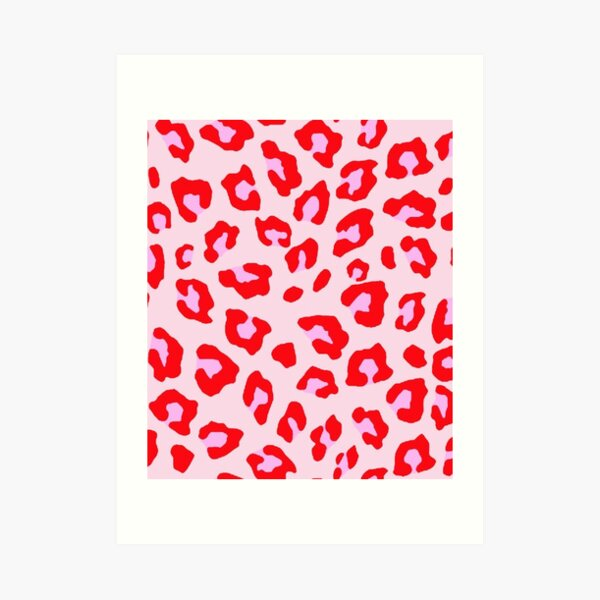 Pink and Red Leopard  Art Print