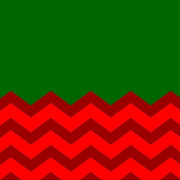 CHRISTMAS HALF PATTERN CHEVRON WITH BRIGHT RED | DARK RED | PLAIN DARK GREEN SOLID  by ozcushionstoo