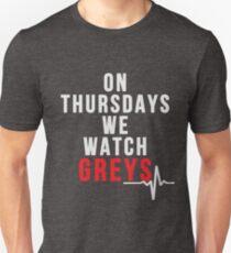 On Thursdays We Watch Greys - White Text T-Shirt