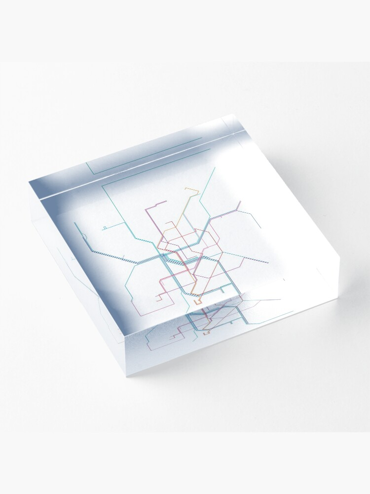 Alternate view of Düsseldorf Rail Map Acrylic Block