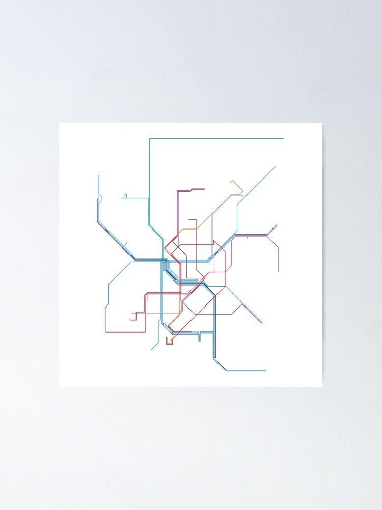 Alternate view of Düsseldorf Rail Map Poster