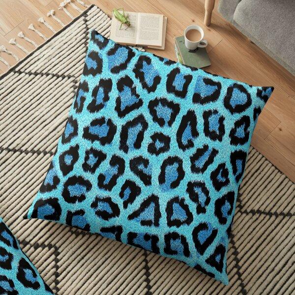 Blue Leopard, cheetah print  Floor Pillow