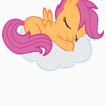Scootaloo Sleeping on Cloud by Liggliluff