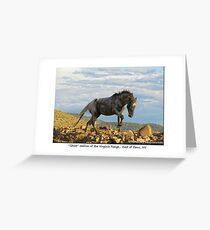 """Ghost"" Wild Stallion on the Ridge, East of Reno, NV Greeting Card"