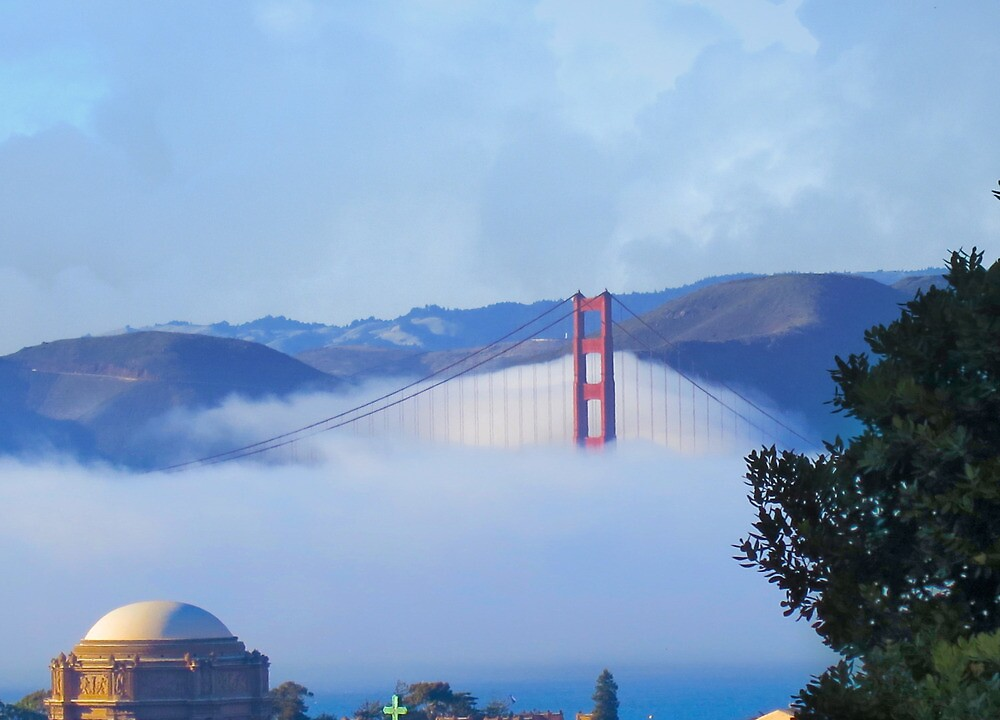 Golden Gate Bridge and the Palace by David Denny
