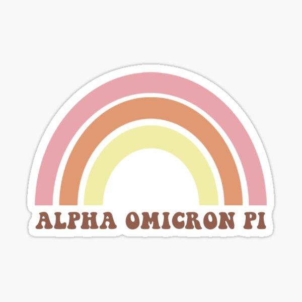 ALPHA OMICRON PI Sorority Retro Rainbow Sticker