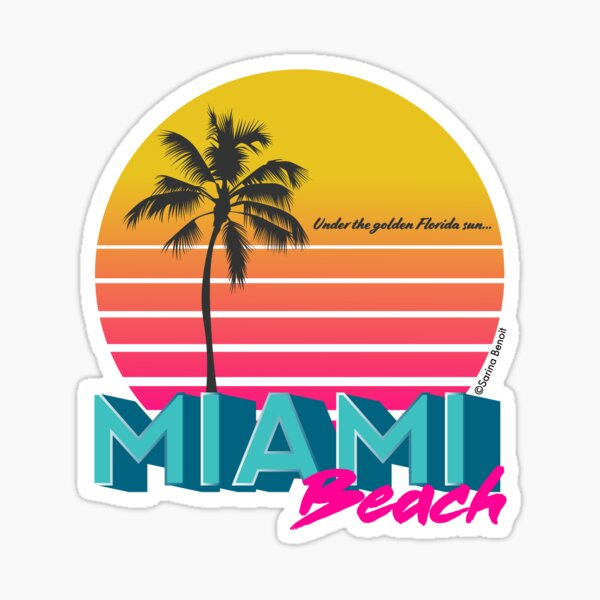 Retro Miami Beach Sunset Sticker