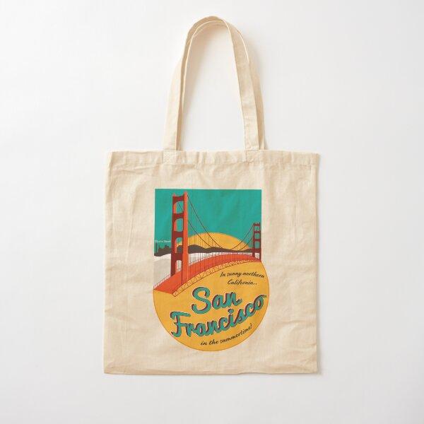 Retro San Francisco Sticker Cotton Tote Bag