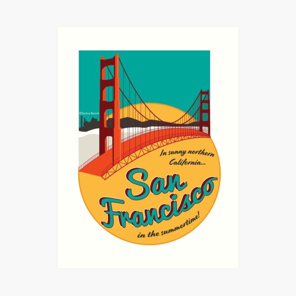 Retro San Francisco Sticker Art Print