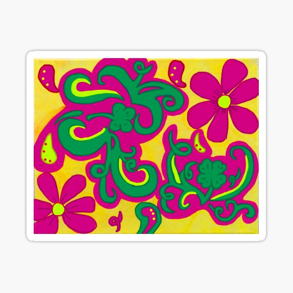 Four Leaf Clovers and Daisies Sticker