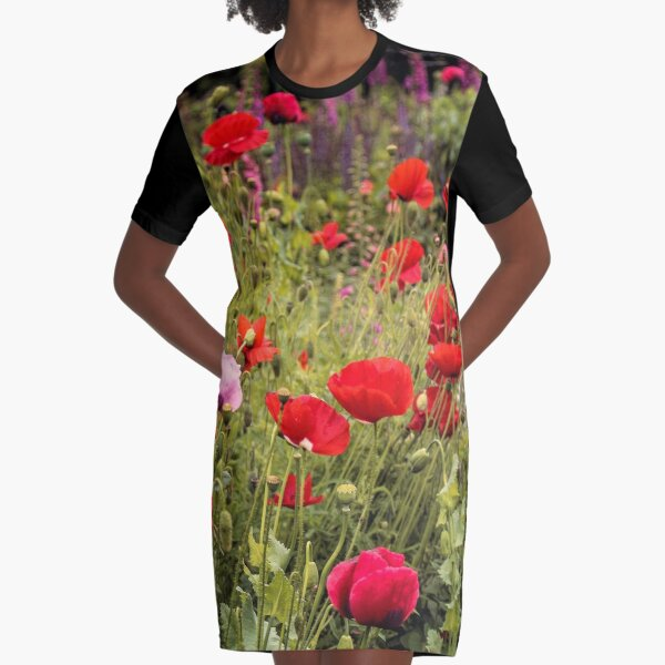 Red Poppies 3 Graphic T-Shirt Dress