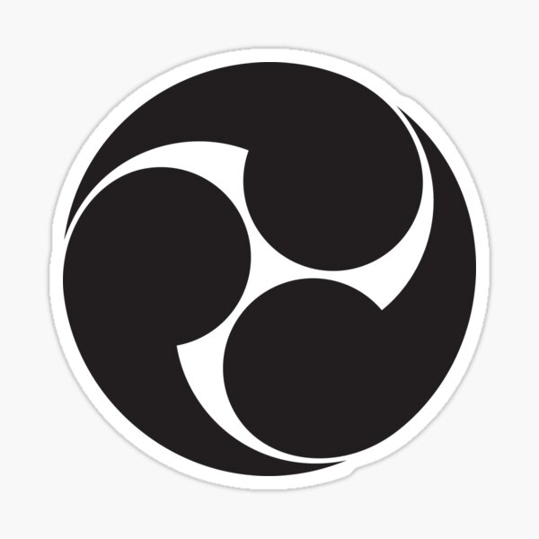 Tomoe, Japan, Japanese, Shinto symbol, Plain & Simple, Black on White. Sticker
