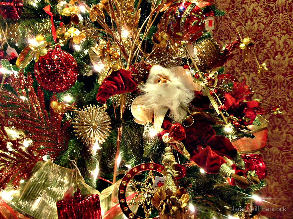 """""""Beautiful Red, White And Green Christmas Tree"""" By Jane"""
