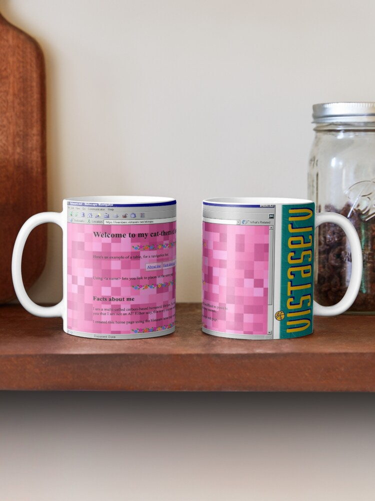 A mug with a screenshot of efstajas's home page on it