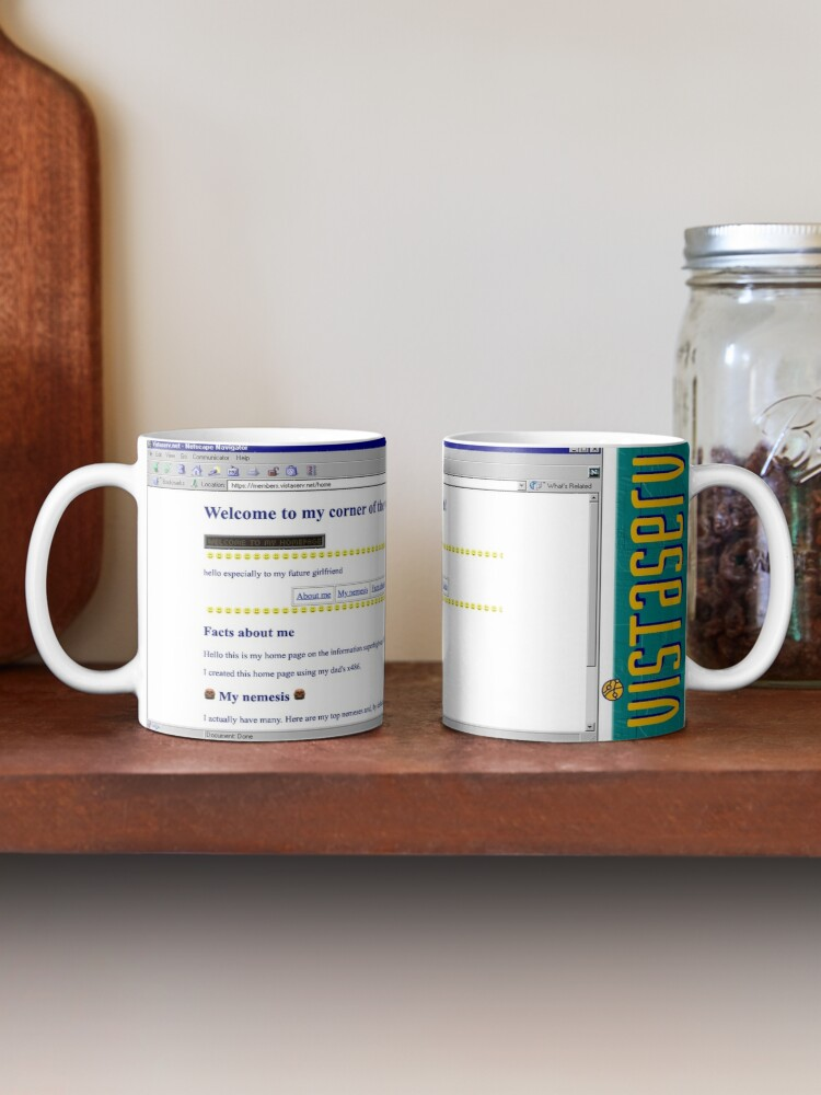 A mug with a screenshot of home's home page on it
