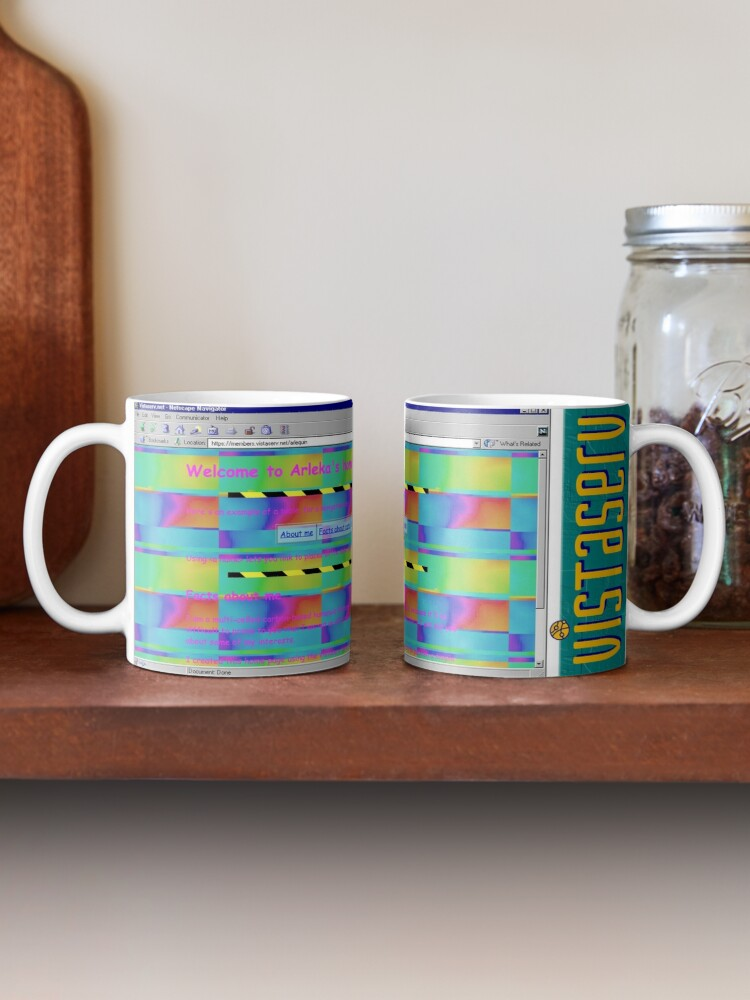 A mug with a screenshot of arlequin's home page on it