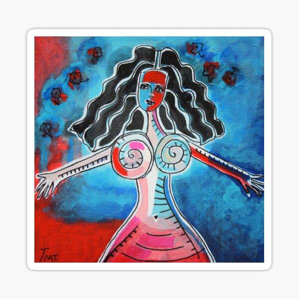 JEUNE FEMME COLOREE HEUREUSE Sticker