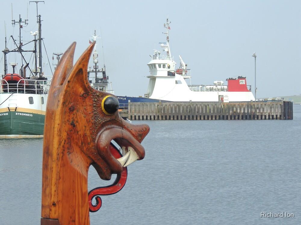 'Dim Riv', replica Viking boat in Lerwick harbour, Shetland by Richard Ion