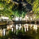 night canal in Amsterdam, Netherlands by hpostant