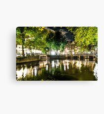 night canal in Amsterdam, Netherlands Canvas Print