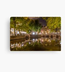 Canal at night in Amsterdam, Netherlands 2  Canvas Print
