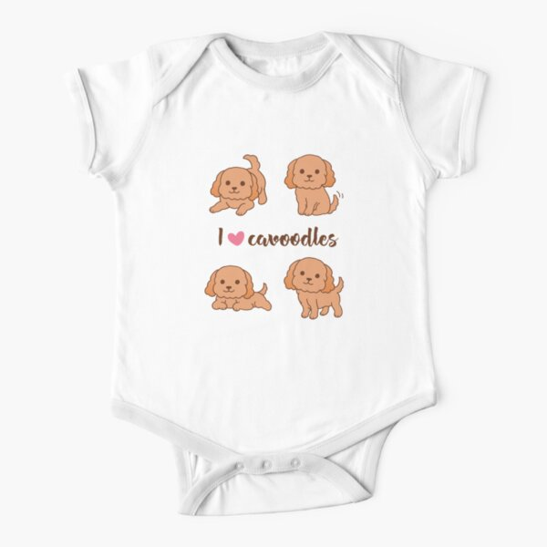 Cavoodle puppies - Purple Pattern Short Sleeve Baby One-Piece