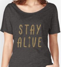 Stay Alive - Hunger Games (Gold) Women's Relaxed Fit T-Shirt