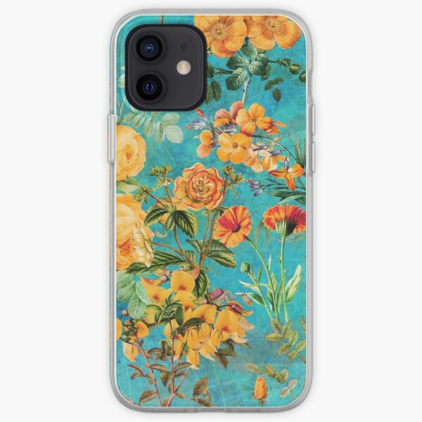 Turquoise Vintage Botanical Summer Garden iPhone Soft Case