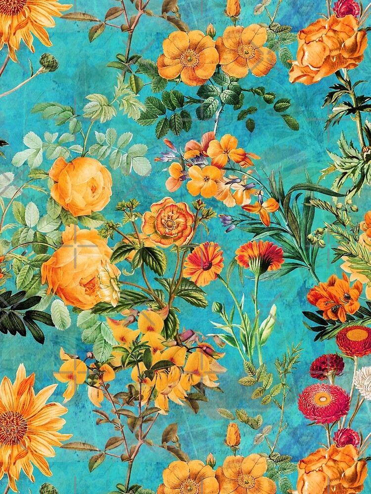 Turquoise Vintage Botanical Summer Garden by UtArt