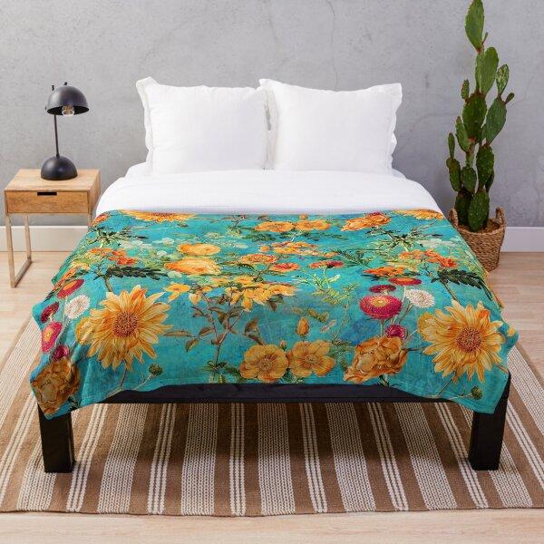 Turquoise Vintage Botanical Summer Garden Throw Blanket