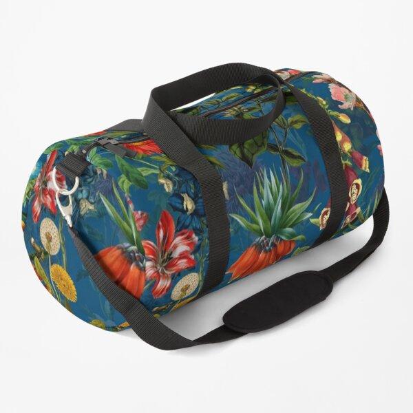 Vintage Blue Springflower Meadow Night Duffle Bag