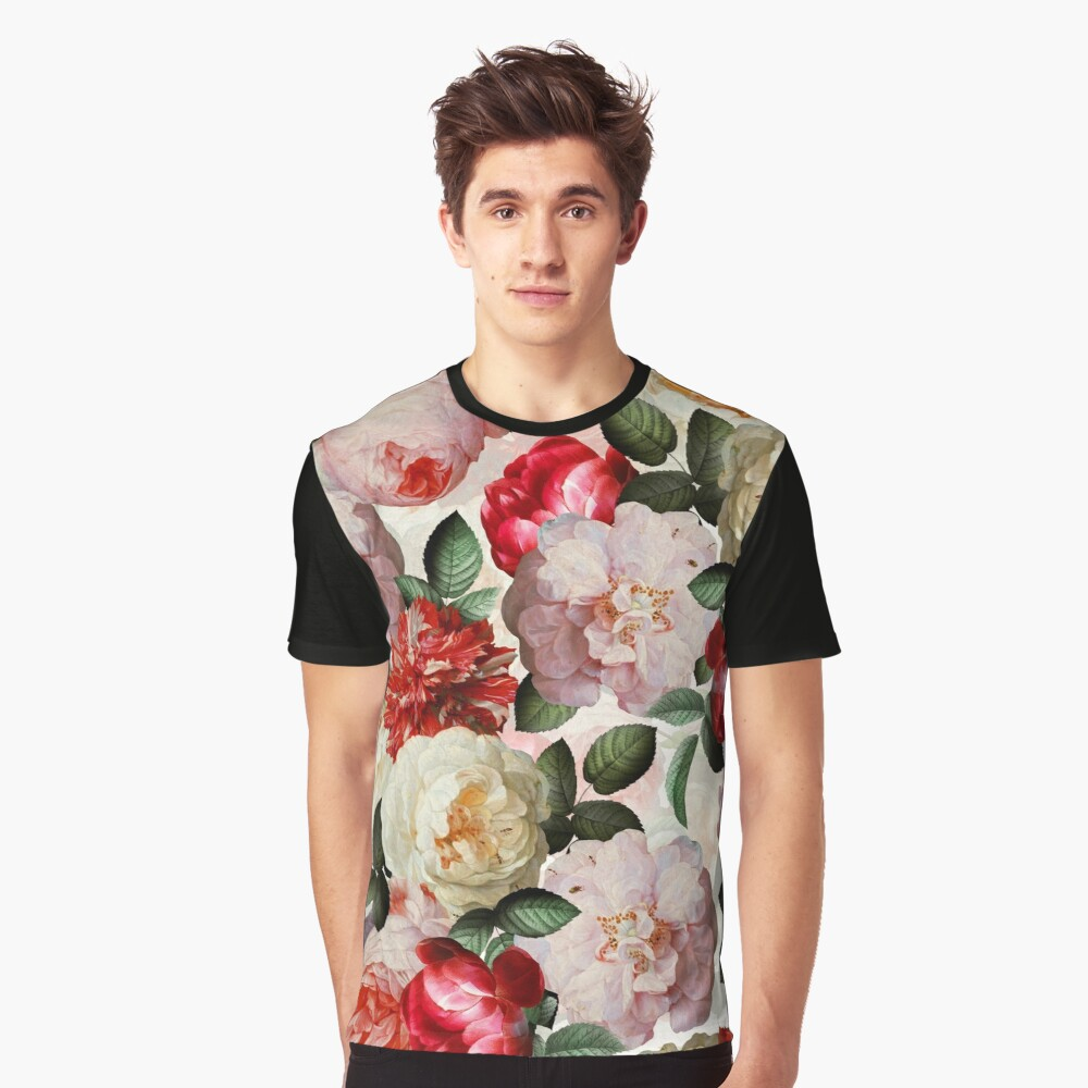 Antique Jan Davidsz. de Heem Lush Roses Flowers shiny colors Pattern Graphic T-Shirt