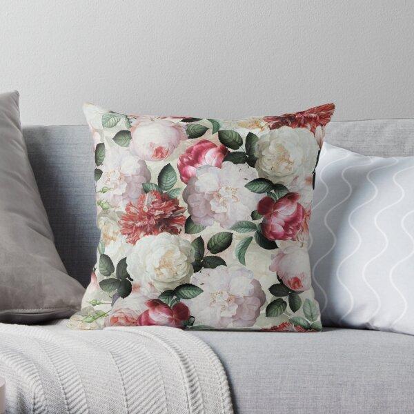 Antique Jan Davidsz. de Heem Lush Roses Flowers On Cream Pattern Throw Pillow